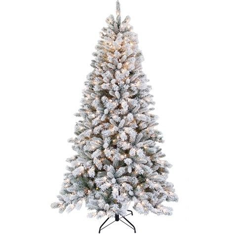 puleo 7 5 ft prelit frosted christmas tree with base