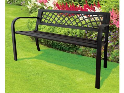 black metal garden bench new black 3 seater metal garden outdoor w lattice back