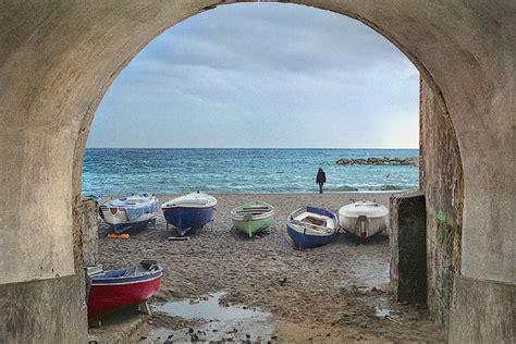 sailboats italy a beach on the amalfi coast italy