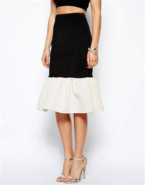 asos premium colour block pencil skirt in scuba with