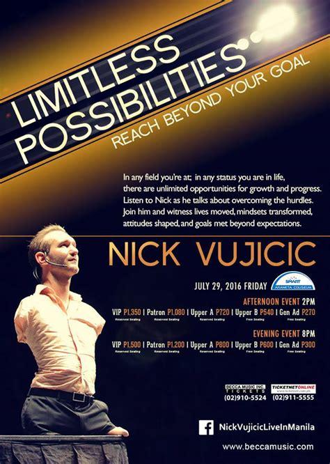 nick vujicic biography tagalog nick vujicic limitless possiblities live in manila