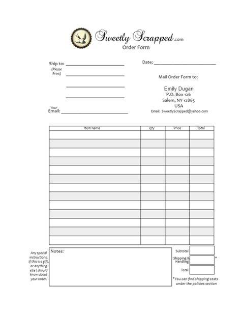 printable order forms 5 best images of free printable order forms free blank