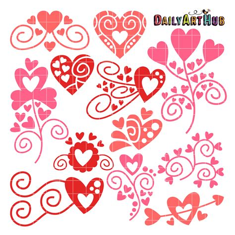 free doodle hearts doodles clip set daily hub free clip