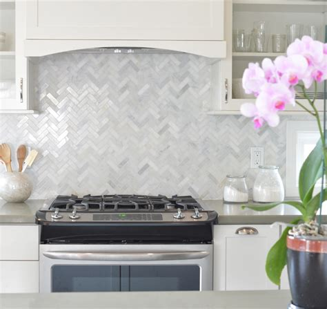 marble herringbone backsplash my s kitchen remodel centsational style