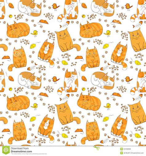 seamless pattern cats cute colorful cats seamless pattern stock vector image