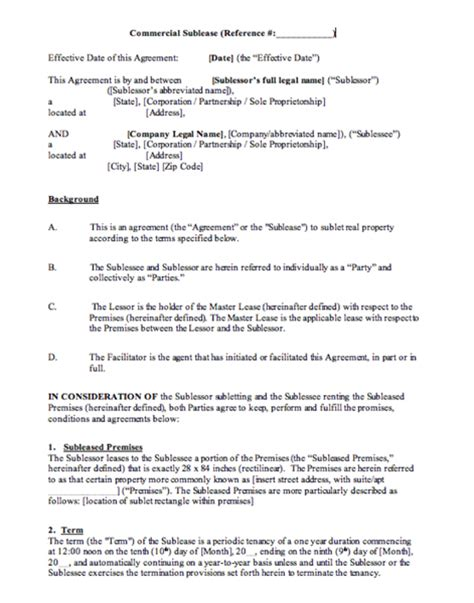 residential sublease agreement template sublease agreement template cyberuse