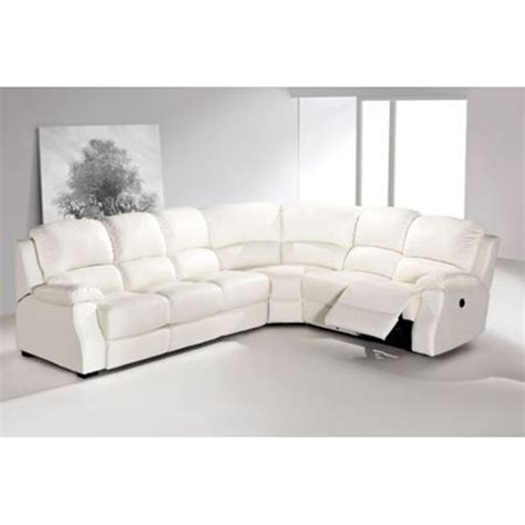 esprit white leather corner sofa with electric recliner