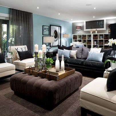 living room decorating ideas  black leather sofa
