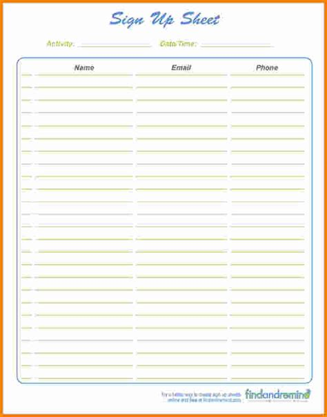 Simple Sign In Sheet Template by Doc 500608 Printable Sign Up Sheet Template Bizdoska