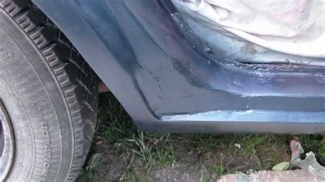 how to repair a hole in a fiberglass bathtub diy large rust hole repair on your auto part 4 paint