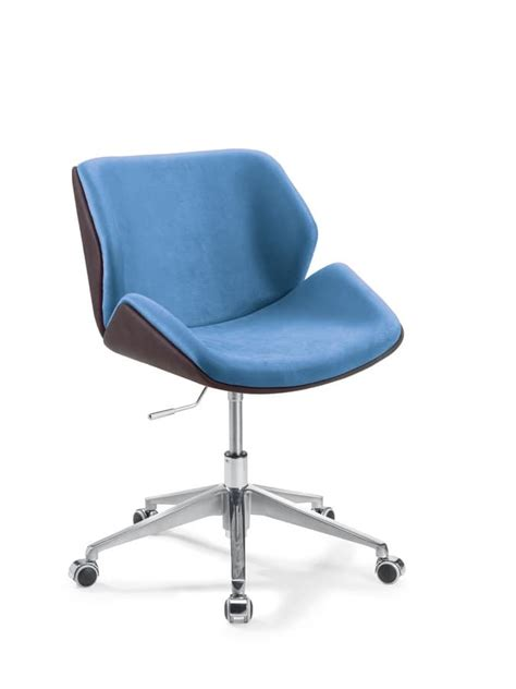 office chair with wheels upholstered in faux leather
