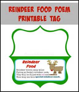 Poem printable magic reindeer food free printable reindeer food poem