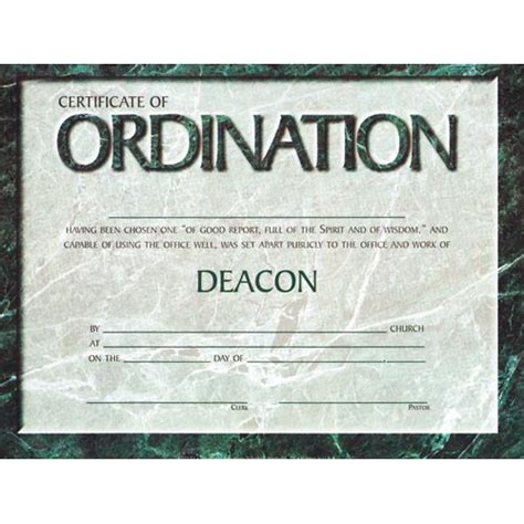search results for certificate of ordination deacon