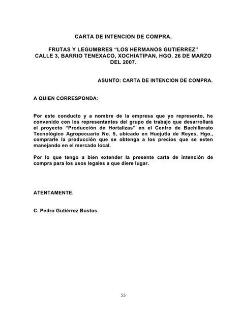 carta de intencion trabajo proyecto de producci 243 n de hortalizas