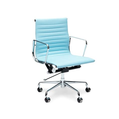 light blue short back ribbed style office chair