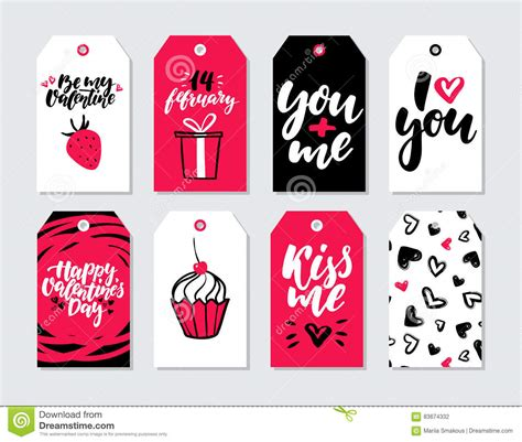 printable love gift tags valentines day gift card vector set hand drawn printable