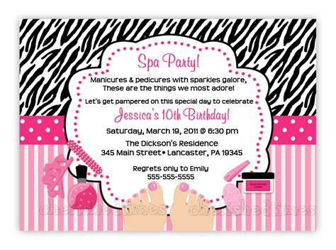 spa birthday party invitations theruntime com