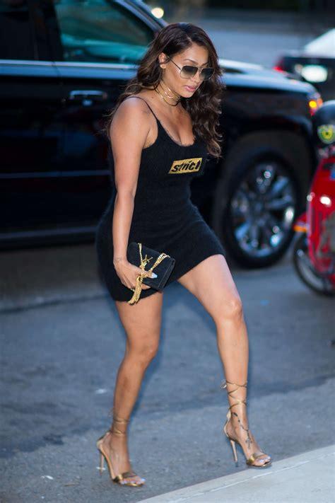 Lala Dress la la anthony in black mini dress out in new york city