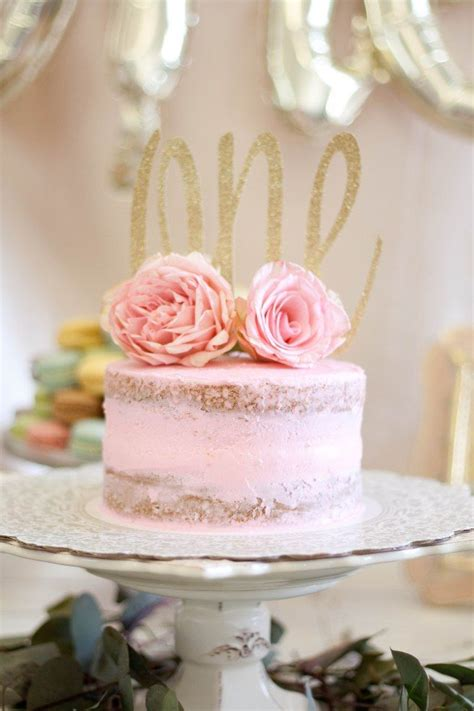 floral  birthday party naked cake alyssa lauren blog   pinterest