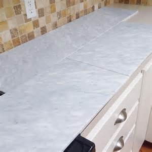 How To Tile A Bathroom Countertop Over Laminate - remodelaholic kitchen mini makeover with affordable tiled diy marble countertops and aged