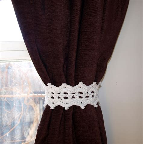 crochet curtain tie backs white lace tiebacks with button crochet curtain tie back pair