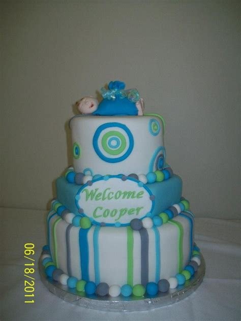 Baby Shower Cake With Baby On Top by Baby Shower Cake Fondant Baby On Top My Cakes