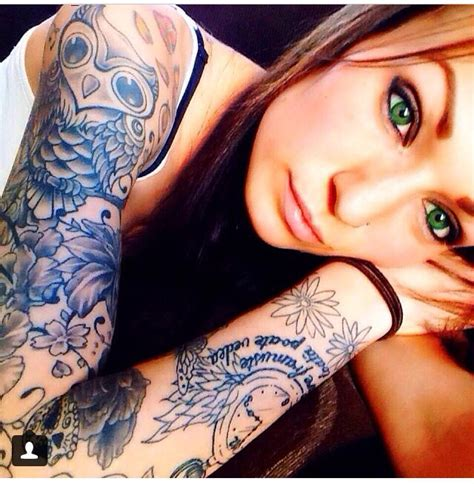 owl tattoo arm girl pretty girl with a cute owl tattoo in her sleeve sleeve