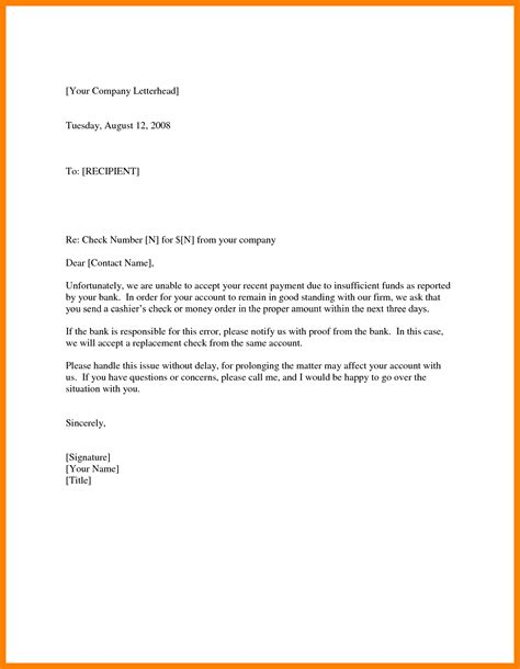 Bank Error Letter To Customer 4 nsf check letter protect letters