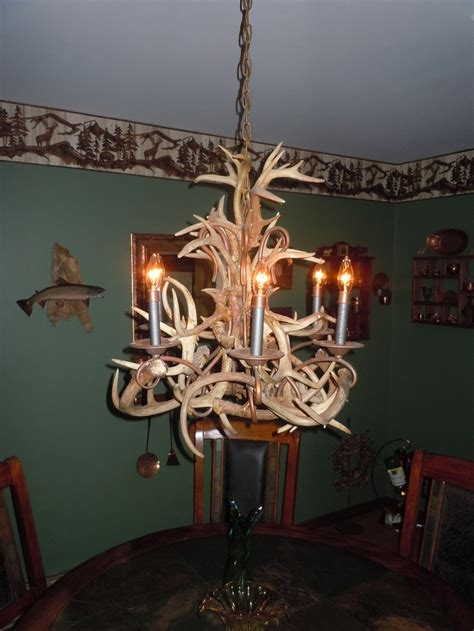 Diy Antler Chandelier This Is One Of My Favorite Projects I Made Myself From Collecting Deer Antlers The Course