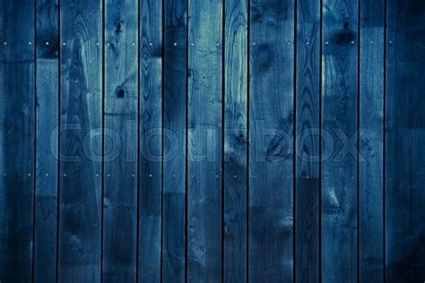 Dark Blue Wood Background. Blue Painted     Stock Photo