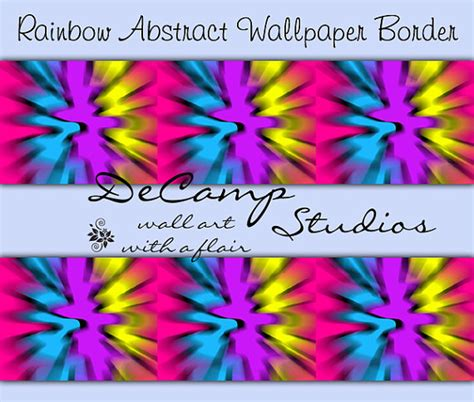 rainbow tie dye wallpaper border wall decals abstract