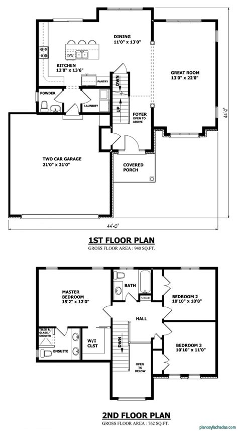 15 Planos De Casas Peque 241 As De Dos Pisos Planos Y Two Storey House Plans With Kitchen Upstairs
