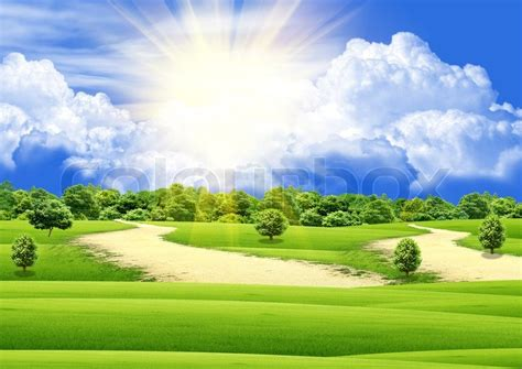 day photos for day the blue sky and a green glade stock photo