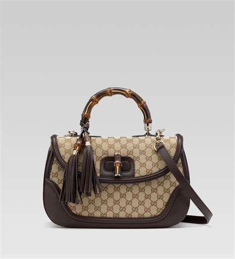 Gucci Bags by Gucci New Bamboo Large Top Handle Bag In Beige Gg