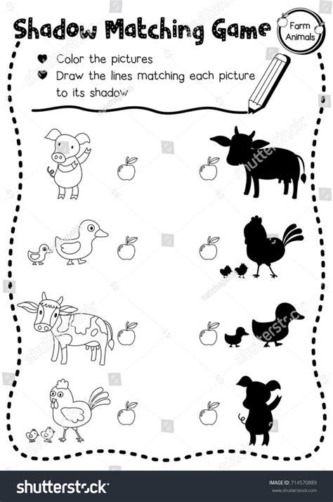 mathorksheet memory on farm animals free esl