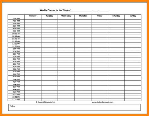 printable weekly planner with time slots 6 weekly calendar with time slots computer invoice