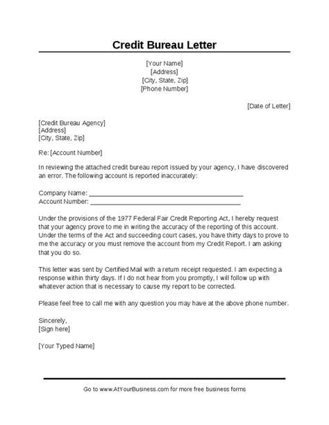 Debt Dispute Letter To Credit Bureau