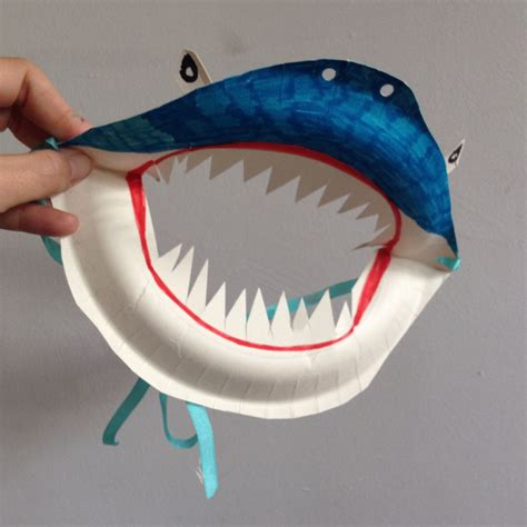 Masks With Paper Plates - paper plate shark mask shark