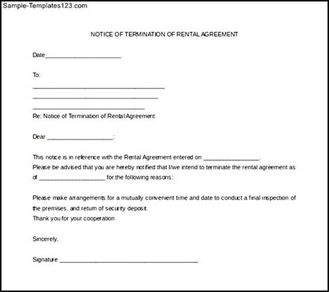 Lease Notarized Letter Notice Of Termination Of Rental Agreement Sle Templates