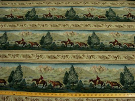 Western Upholstery Fabric by Western Scenic Frieze Tapestry Upholstery Fabric Ft799 Ebay