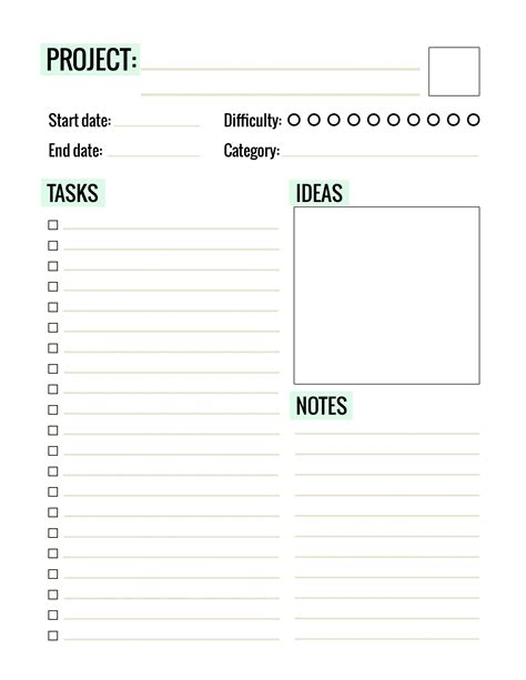 printable project planner free free printable project planner page paper and landscapes