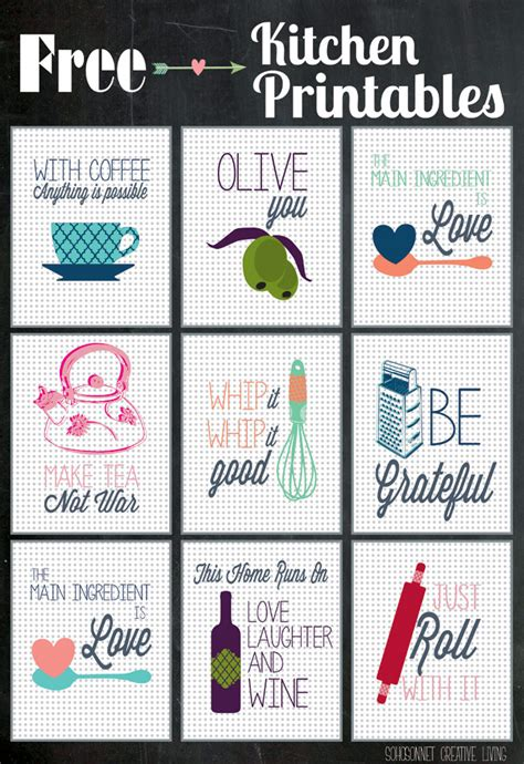 free printable kitchen wall art kitchen printables guest post at happy housie