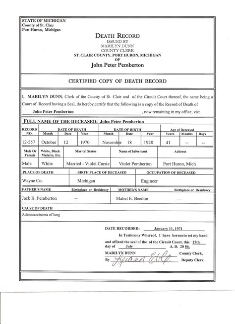 templates for death certificates certificate death certificate template