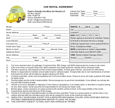 rental car agreement template car rental agreement 11 free word pdf documents