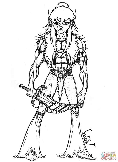 printable version of html page female warrior coloring pages click the elf to version or