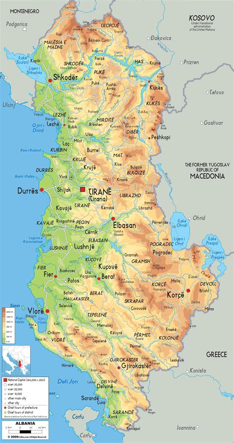 political map of albania maps of albania albania detailed map in