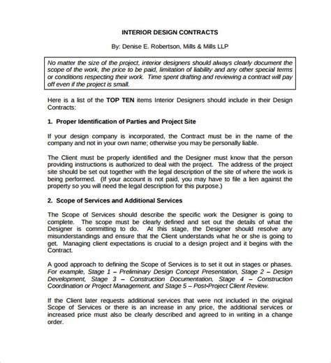 11 Interior Design Contract Templates To Download For Free Sle Templates Interior Design Contract Template