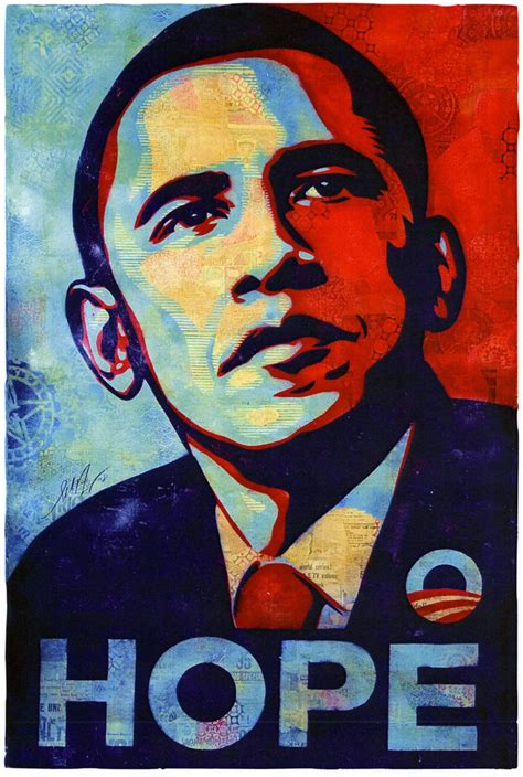 obama hope stencil collage  large format hand