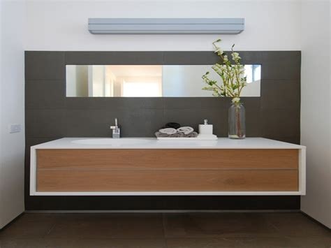 White Cabinet Bathroom Ideas by Floating Black Wooden Vanity With Double White Sink
