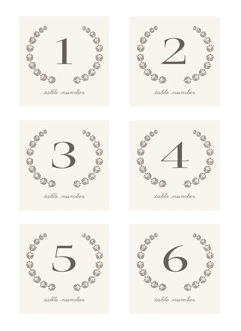 template wedding table number cards 7 best images of table numbers free printable template